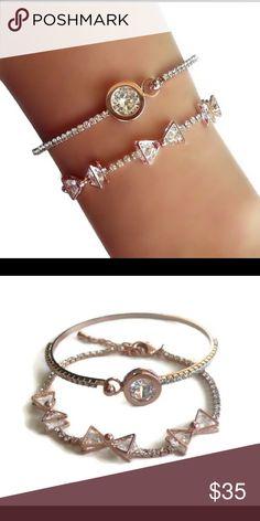 Rose Gold CZ Bow Bracelet Set Set Includes: 2 bracelets Material: Rose Gold Plated, Cubic Zirconia, Crystal Color: Rose Gold Size: Fits most Jewelry Bracelets