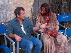 Mel Gibson Jim Cavizel on set. For me the best interpretation of Jesus that i've seen