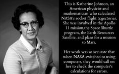 Katherine Johnson, American physicist and mathematician. She calculated NASA'. - All the Interesting Information You're Wondering Here Women In History, Black History, Modern History, British History, Ancient History, Great Women, Amazing Women, Amazing People, Smart Women