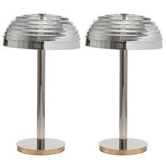 Pair of European Modern Art Deco-Inspired Nickel and Glass Roma Table Lamps | 1stdibs.com