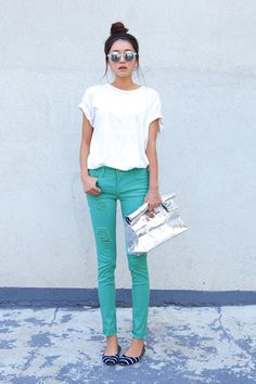 Turquoise Jeans and Striped Flats
