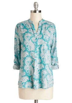 Cute as Can Beeline Top. The moment you saw the whimsical, paisley print on this aqua top you knew it had to be yours! #blue #modcloth