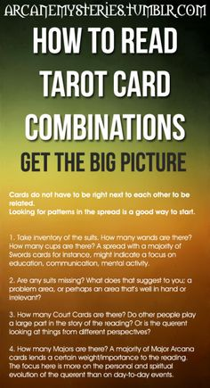 arcanemysteries:  How To Read Tarot Card Combinations.