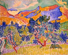 André Derain [French; Fauvism, les Fauves ('The Wild Beasts'), 1880–1954]: Mountains at Collioure, 1905. - Google Search