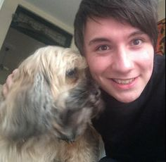 Dan took a selfie with his family's dog :P