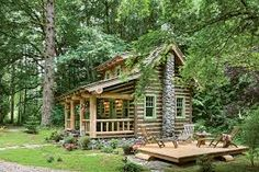 One woman's passion for cabin living comes to life in this cozy cottage surrounded by the beautiful Washington scenery. Buy A Tiny House, Tiny House Cabin, Log Cabin Homes, Log Cabins, Rustic Cabins, Cabin In The Woods, Cottage In The Woods, Cozy Cottage, How To Build A Log Cabin