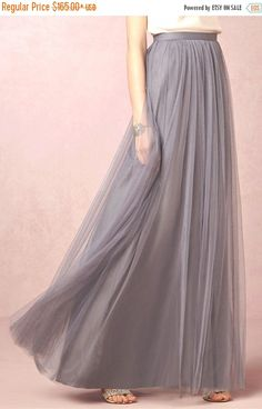 Long Grey mesh skirt maxi skirt tutu skirt by LudasBoxOfTreasures