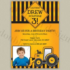 Construction Birthday Party Invitations  by double u design on etsy