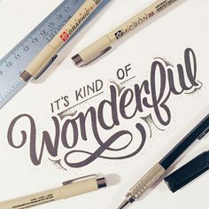 it's kind of wonderful lettering Calligraphy Quotes Doodles, Brush Lettering Quotes, Calligraphy Text, Hand Drawn Lettering, Creative Lettering, Lettering Styles, Lettering Design, Handwritten Typography, Typography Quotes