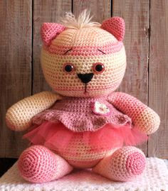 Cat Amigurumi, Pink Cat, Teddy Bear, Knitting, Cats, Crochet, Artist, Handmade, Gatos