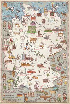 Germany map illustration.  By Rachel Oakley.