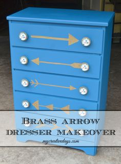 Brass Arrow Dresser Makeover #DIY #paintedfurniture #metallic - www.countrychicpaint.com/blog