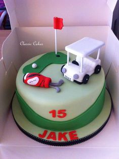 Golf Cake. How fitting, it already has his name on it. Lol