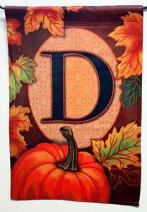 Fall Pumpkin Monogram D Decorative Monogram Garden Flag