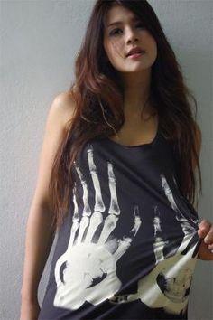 XRay Handcuffs Goth Punk Rock Hand Printed Tank Top by 1stepbeyond