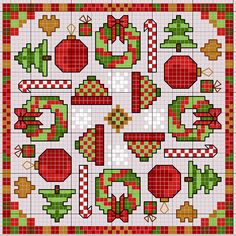 Cross-stitch Christmas Biscornu pattern... no color chart available, just use pattern chart as your color guide.. or choose your own colors...