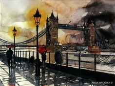 Saved by Cuded on Designspiration. Discover more Painting Tower Bridge Watercolor inspiration.