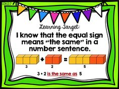 Learning Target  Ready Math First Grade - Lesson 10 - Understand the Equal Sign