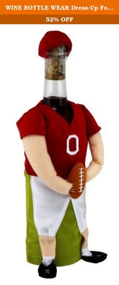 WINE BOTTLE WEAR Dress-Up For Wine Bottles - Football Player. Wine Fashion Wear is a great way the decorate your themed event. Or to simply store wine. Done with the bottle? Dress it up and stick a candle on top for your own unique cadlestick. Hand-assembled unique outfit has unique textures and look.