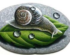 Pebble Stone, Stone Art, Stone Painting, Rock Painting, Hand Painted Rocks, Painted Stones, Acrylic Colors, Rock Art, Snail