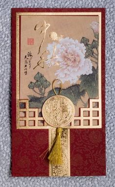 Flower Moon Festival Day Greeting Card ... printed paper ... peony ... red and metallic gold ...