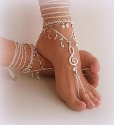 Wedding Barefoot Sandals Bride boho shoes Hippie anklet Bohemian foot jewelry Belly dance anklet Music note White bridal shoe Beach outfit Wedding Barefoot Sandals Bride boho shoes Hippie anklet - My Accessories World Ankle Jewelry, Ankle Bracelets, Boho Jewelry, Feet Jewelry, Handmade Jewelry, Jewellery, White Bridal Shoes, Beach Wedding Sandals, Beach Foot Jewelry