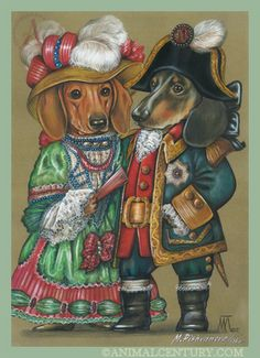 Dachshunds the Royal Couple, Royal Dogs of Animal Century