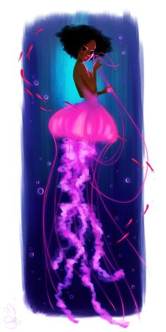 Here is a piece that I love of a mermaid-esque jelly fish.Her upper-half is based on flowerbattblog so hopefully she doesn't mind lolI'm super happy with how she turned out! She was done in Corel Painter.