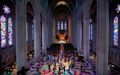 Offbeat Workout Spaces |   Where: Grace Cathedral in San Francisco    What: Vibrant yoga mats fill the aisles, alter and indoor labyrinth at this historically progressive Episcopal church — the country's third-largest — in the heart of the city. Led by hatha flow and restorative yoga instructor Darren Main, the weekly practice begins with a brief reflection from a clergyman and is accompanied by live music. Hundreds of locals and travelers of all ages and abilities attend each week.