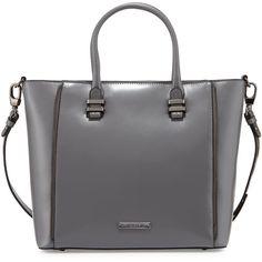 Charles Jourdan Mindi Zip-Trim Leather Tote Bag found on Polyvore featuring bags, handbags, tote bags, purses, bolsas, grey, leather purse, zip top tote bag, grey leather tote bag and leather zipper tote