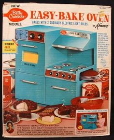 The first Easy Bake Oven. I remember how thrilled I was to get it for Christmas. You could bake little cakes in the oven all with the heat of a light bulb.  I remember the trays getting stuck.  I can't count the number of times I made brownies, and my dad would have to figure out how to get the pan on track to prevent an inferno!