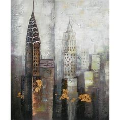 Abstract Oil Paintings [6] ❤ liked on Polyvore featuring home, home decor, wall art, backgrounds, city, art, buildings, new york, new york home decor and new york wall art