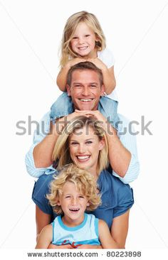 stock photo : Portrait of happy middle aged couple with two little children smiling on white background