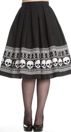 Hell Bunny Clara Skirt Rockabilly Skull Crossbones Punk Emo Goth Jive Swing in Clothes, Shoes & Accessories, Women's Clothing, Skirts Fashion Mode, Dark Fashion, Gothic Fashion, Skirt Fashion, 50s Style Skirts, 50s Skirt, Pleated Skirt, Moda Rockabilly, Rockabilly Fashion