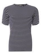 Womens Navy And Ivory Stripe Pearl Insert T-Shirt- Black