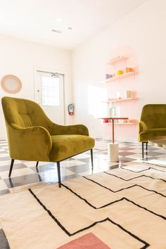 High-shine velvet upholstery and slender modern legs make this a beautiful as well as comfortable addition to your room. Photo by Alexandra Gater. #VelvetFurniture #EclecticSpace #ModernLivingRoom #VelvetChair Velvet Furniture, Green Velvet, Upholstery, Chair, Modern, Room, Bedroom, Tapestries, Trendy Tree