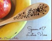 Wooden Spoon #17, unique wood-burned spoon with beautiful henna inspired design. One of a kind!