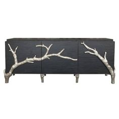 Hollywood Regency Black with Silver Branch Media Cabinet Credenza | From a unique collection of antique and modern credenzas at https://www.1stdibs.com/furniture/storage-case-pieces/credenzas/