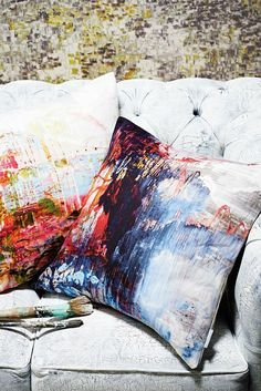 Painterly abstract patterns on Jessica Zoob fabrics for Romo's Black Edition are bang on trend!
