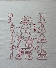 "Check out this super cute redwork Santa using the pattern ""Homespun Santa"" by Robin Kingsley on The Cuddle Quilter using Aurifil 12wt. http://lesleythecuddlequilter.blogspot.com/2012/09/i-found-santa-in-alaska.html"