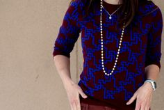 Warm Weather Awaits | Style On Target | red and blue geometric sweater, Loft cords