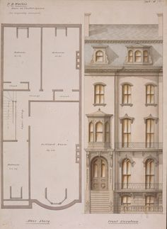 Attic floor plan and front elevation of the P.D. Wallis House, Chester Square, Boston, Mass., 1858 | Luther Briggs, Jr. architectural…