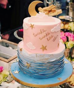 Gender reveal baby shower cake twinkle twinkle little star