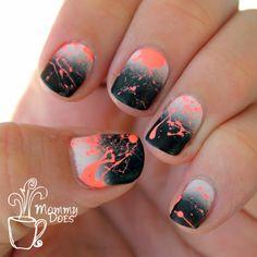 Neon splatter nails