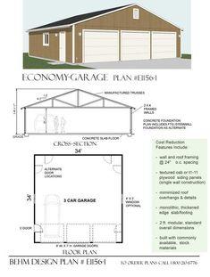 Oversized 3 bay garage by behm design plan 1080 1 home for 3 bay garage plans