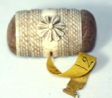 ANTIQUE c 1830's~~HAND CARVED Napolian P-O-W CoMbO Tape Measure & PIN CUSHION~~