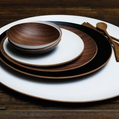 ROUND WOOD TRAY WITH LACQUER FINISH from Harbu House