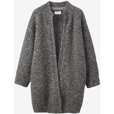 Toast Knitted Tweed Coat (335 CAD) ❤ liked on Polyvore featuring outerwear, coats, cardigan jacket, tweed wool coat, cocoon coat, tweed cardigan jacket and cardigan coat