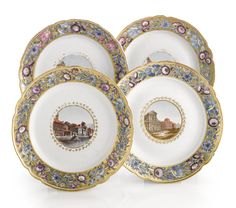 A Set of Four Russian Porcelain Plates from the Cabinet Service, Imperial Porcelain Manufactory, St. Petersburg, Periods of Catherine II (1762-1796) and Paul I (1796-1801)