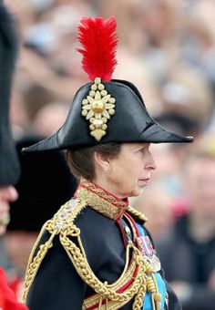 Princess Anne, Princess Royal travel by horse during 2014 Trooping the Color - Queen Elizabeth II's Birthday Parade, at The Royal Horseguards in London, England